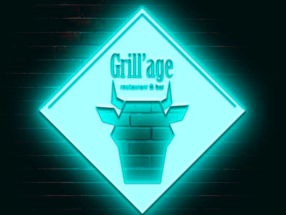 Grill'Age logo with neon (lightbox)