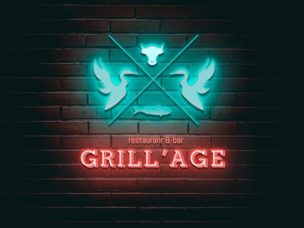 Grill'Age logo as neon signboard