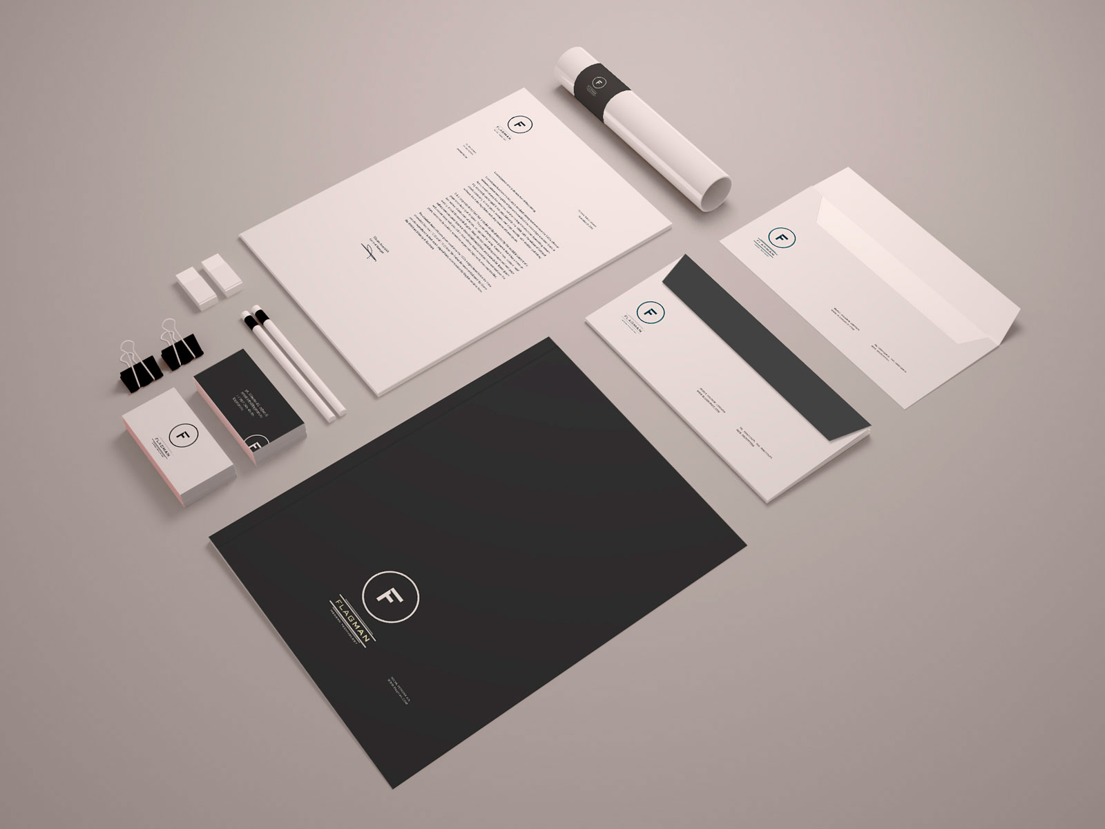 Flagman business card, blank, paper folder and envelope, version 2