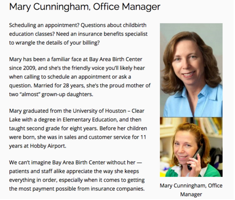 Mary Cunningham, Office Manager at Bay Area Birth Center