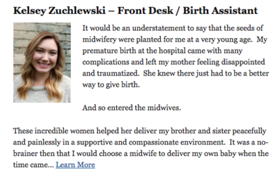 Kelsey Zuchlewski - Front Desk / Birth Assistant