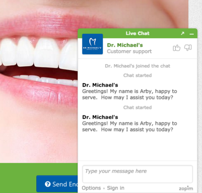 Online chat plugin at Dr. Michaels