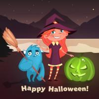 Happy Halloween 2016: GIF and postcard for social media