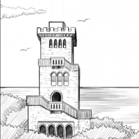 Illustration for the background: the Akhun mountain watchtower